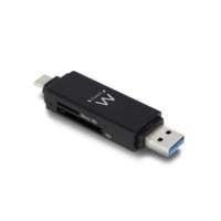 Ewent EW1075 geheugenkaartlezer Zwart USB 3.2 Gen 1 (3.1 Gen 1) Type-A/Type-C