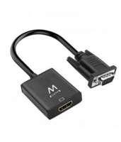 Ewent EW9866 cable gender changer VGA-15pin HDMI, 3.5mm Zwart