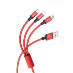 Hoco 3-in-1 Charge&Synch Lightning+Micro+USB-C Red Kabel